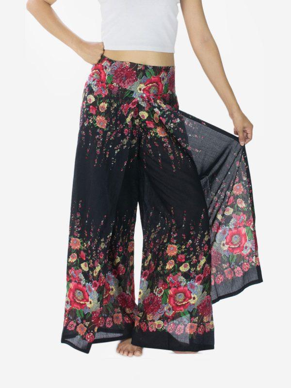 Black Floral Palazzo Wrap Pants