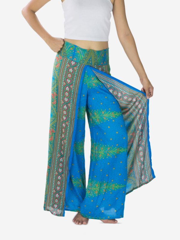 Bright Blue Peacock Palazzo Pants