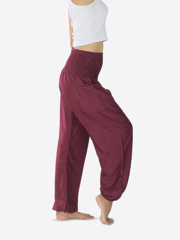 burgundy-plain-harem-pants-thai