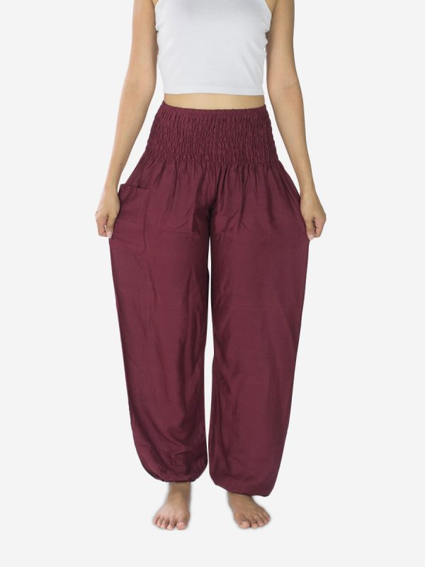 Dark Burgundy Plain Thai Harem Trousers