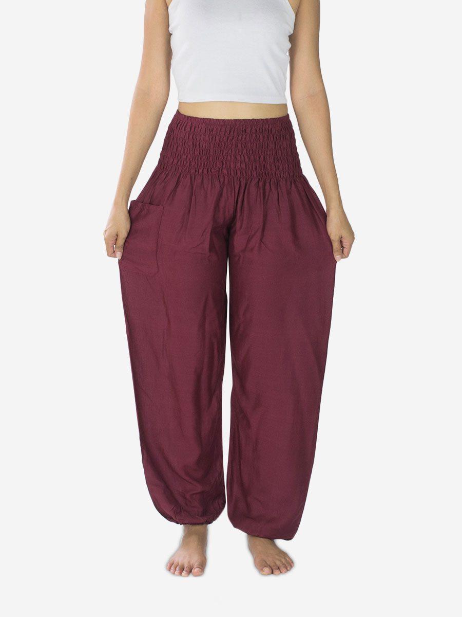 dark-burgundy-plain-thai-harem-trousers