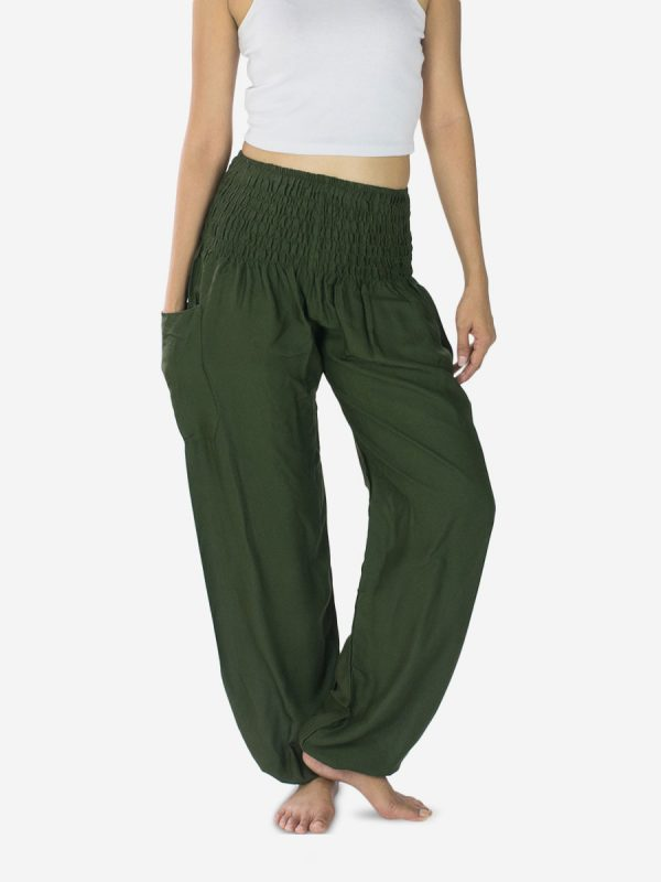 Plain Army Green Thai Harem Pants