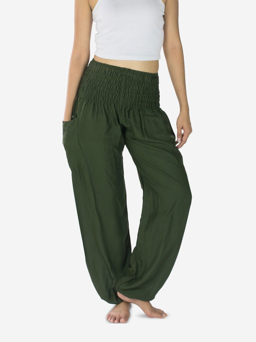 plain-army-green-thai-harem-pants