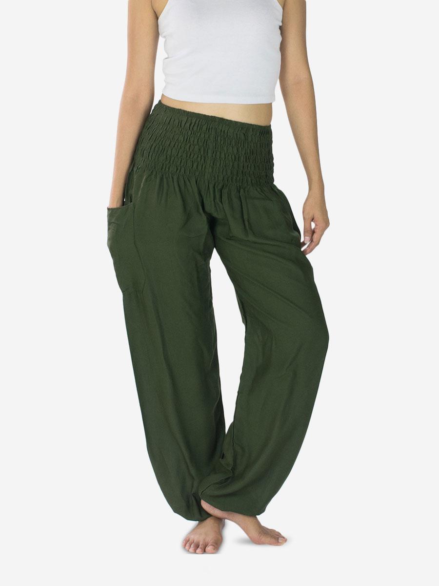 plain-army-green-thai-harem-pants