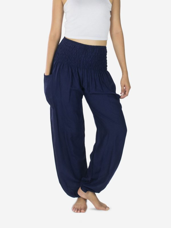 Plain Blue Navy Thai Harem Pants Trousers