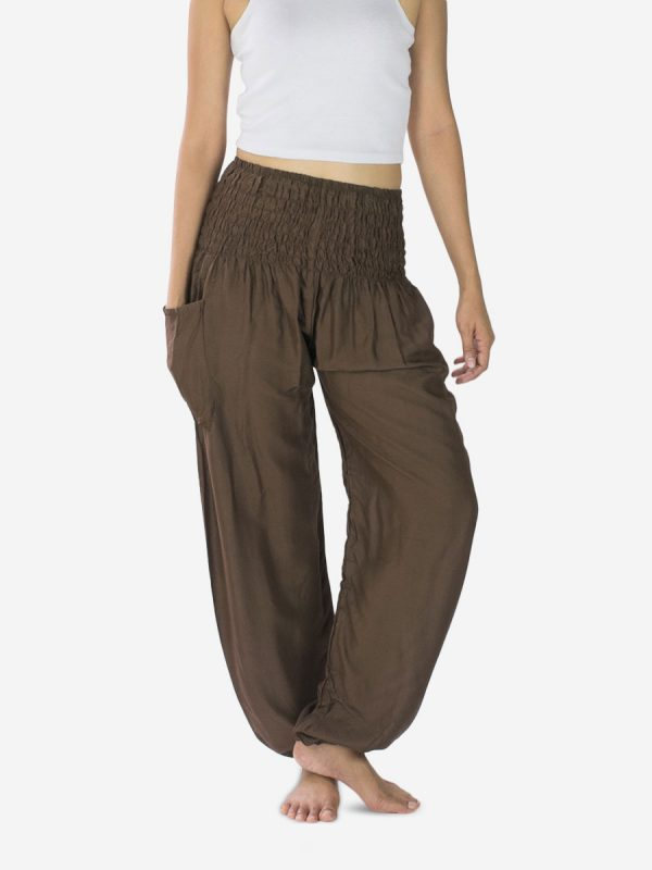 plain-brown-thai-rayon-yoga-pants