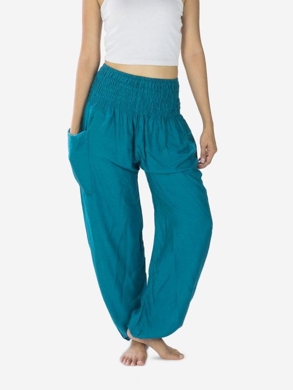 plain-turquoise-harem-pants-for-yoga