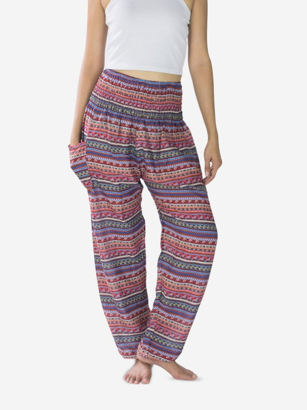 Red Pink Striped Harem Pants Boho Festival