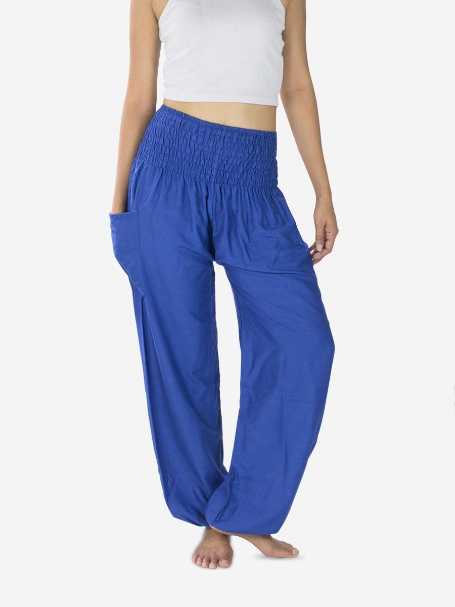 thai-rayon-yoga-pants-plain-blue