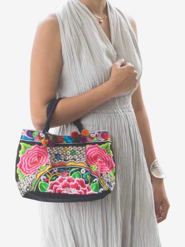 Pink Flower Hmong Hill Tribe Handbag