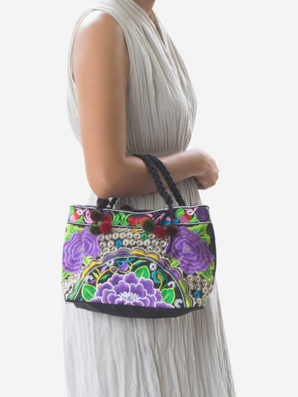 Purple Flower Hmong Hill Tribe Handbag