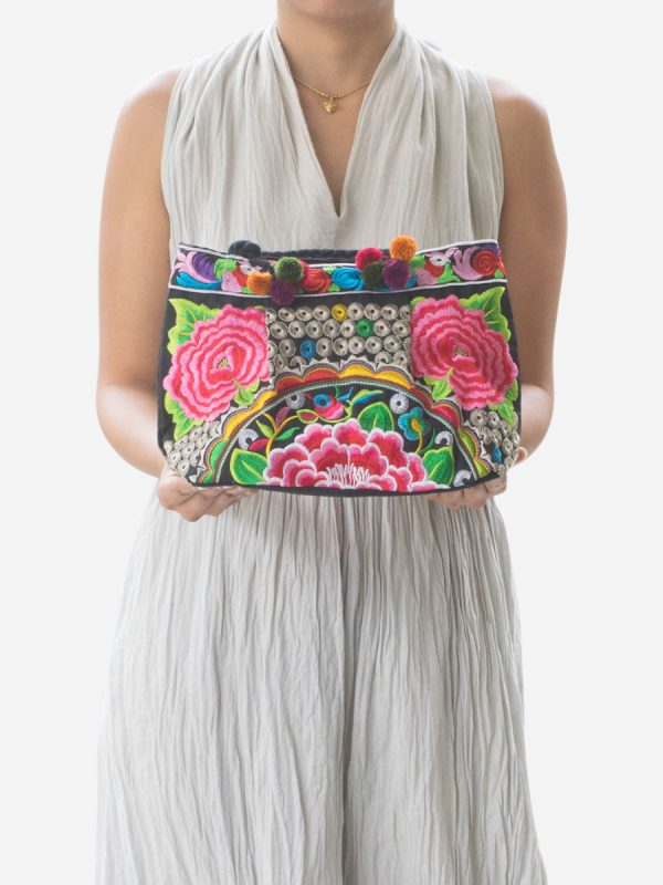 Pink Flower Hmong Hill Tribe Handbag