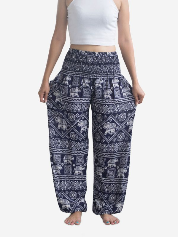 Navy Blue Elephant Thai Harem Pants