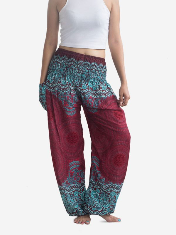 Burgundy Spiral Flower Thai Harem Pants