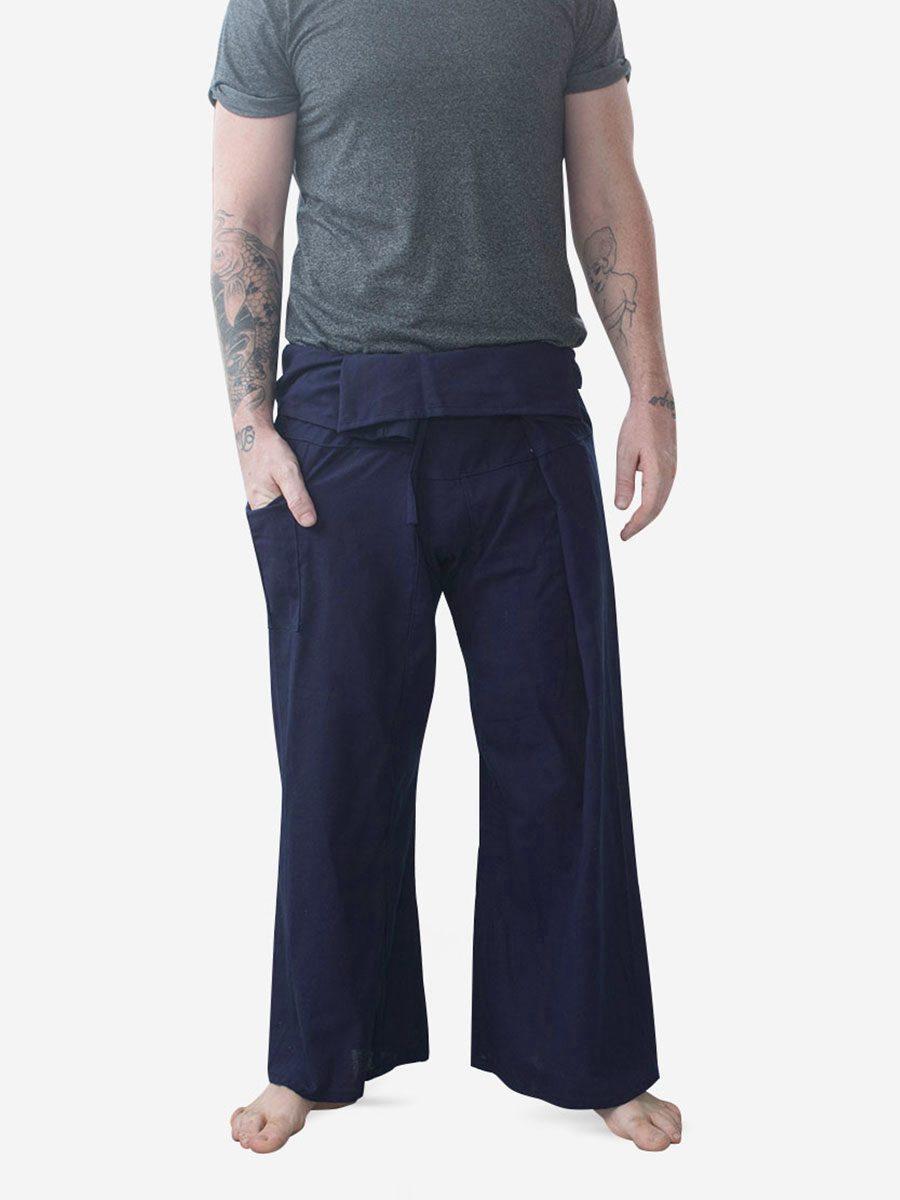 Men's Plain Navy Thai Fisherman Pants