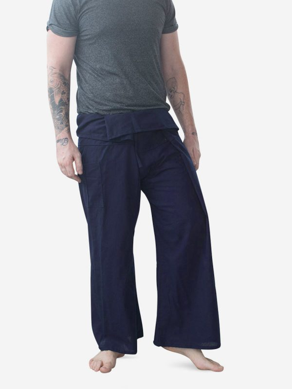 Men's Plain Navy Thai Fisherman Pants