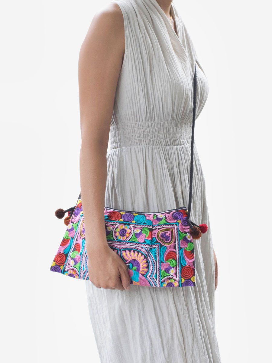 Multicolor Hmong Hill Tribe Cross Body Clutch Purse