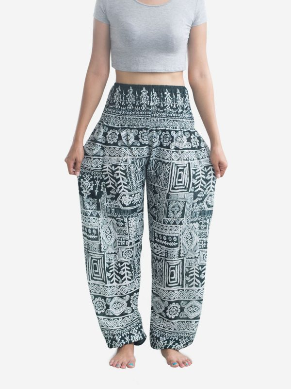 Aztec Green Thai Harem Pants