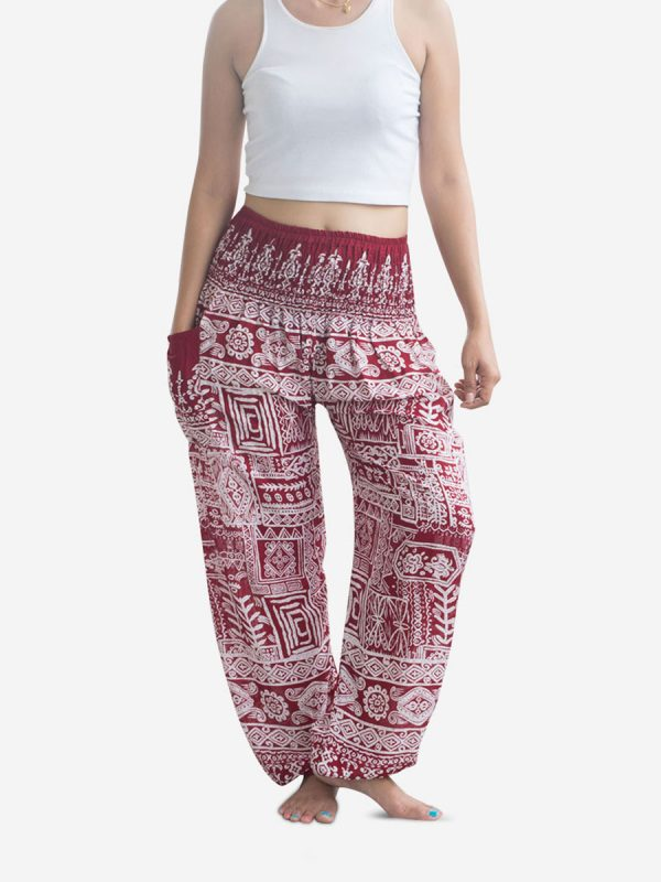 Red Aztec Thai Harem Pants