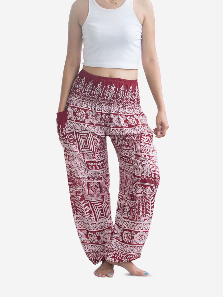 Red Aztec Thai Harem Pants