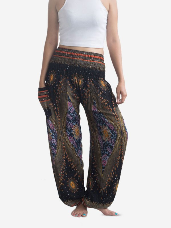 Black Feather Thai Harem Pants