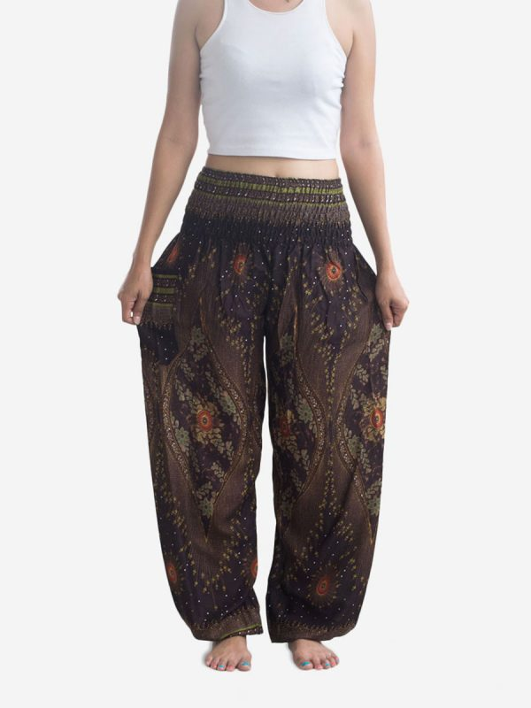 Brown Feather Thai Harem Pants