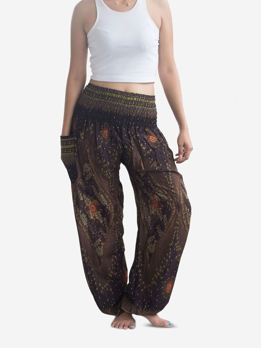 Brown Feather Thai Harem Pants