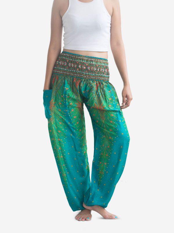 Turquoise Peacock Thai Harem Pants