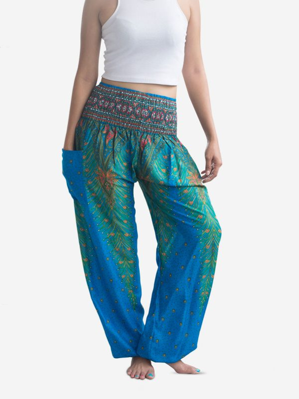 bright-blue-feather-design-thai-yoga-pants