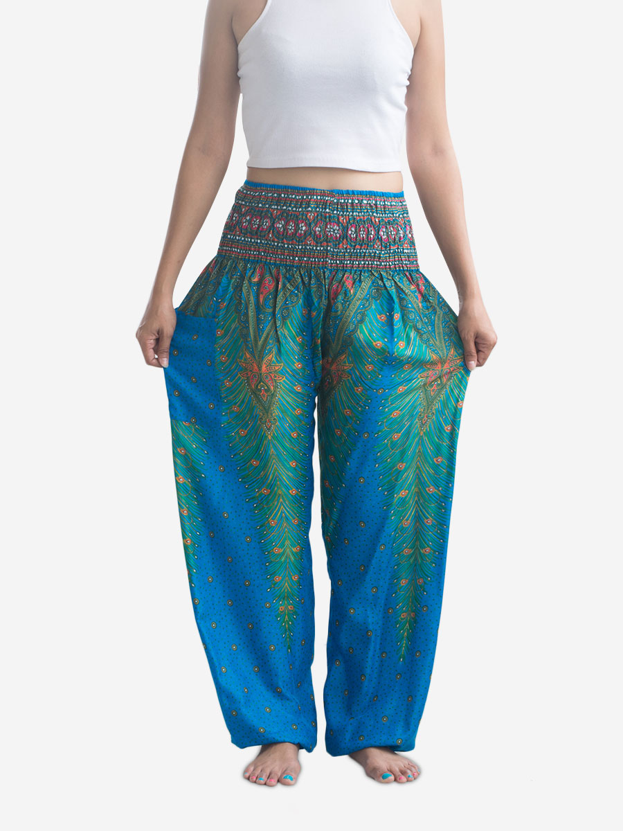 bright-blue-peacock-feather-harem-pants