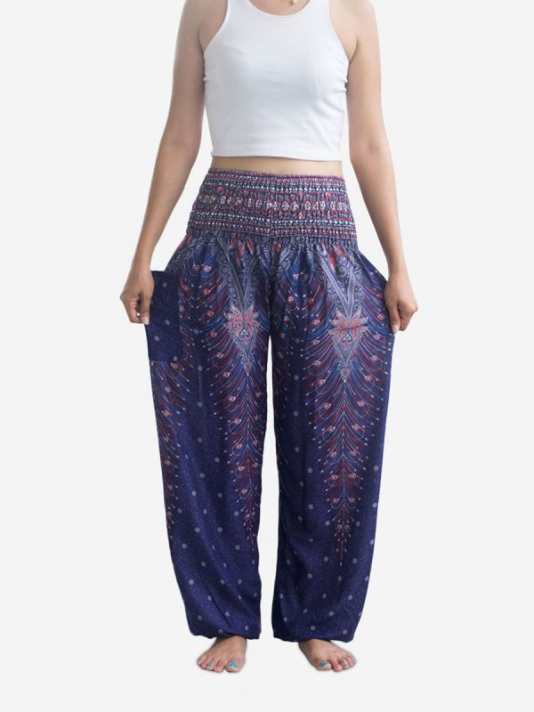 Deep Blue Peacock Thai Harem Pants
