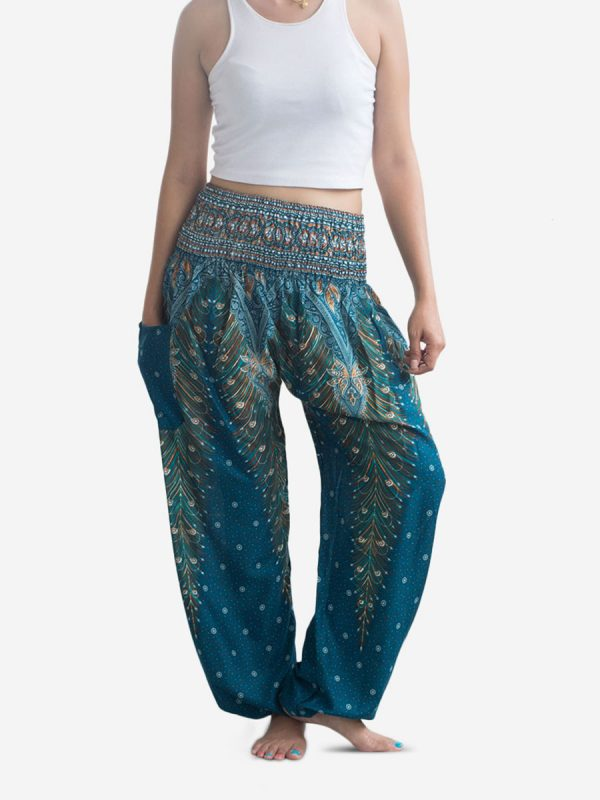 Dark Green Peacock Thai Harem Pants