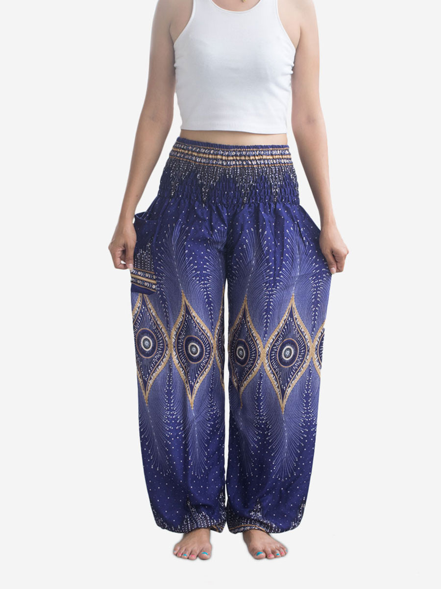 Blue & Gold Thai Harem Pants