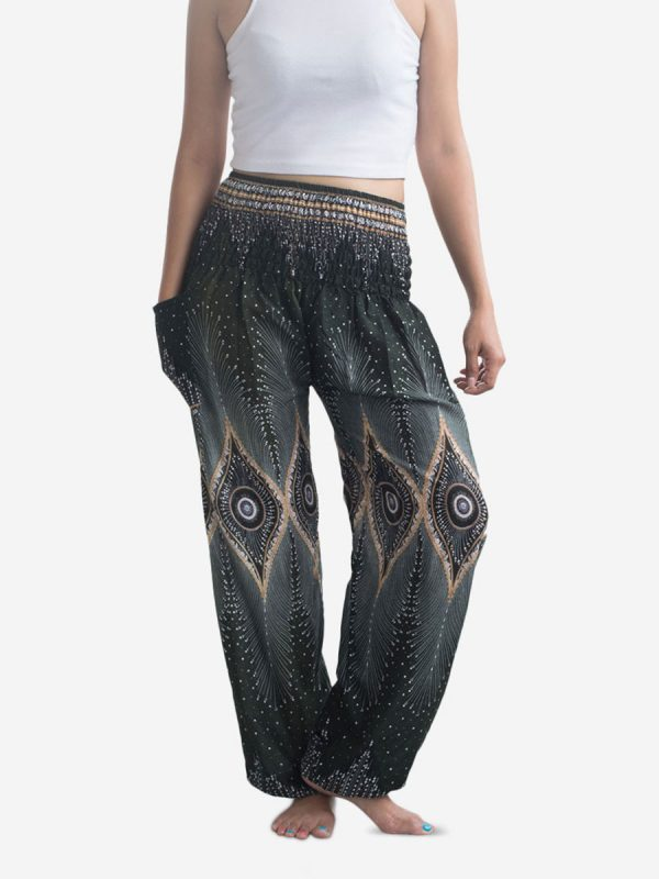 Green & Gold Peacock Thai Harem Pants