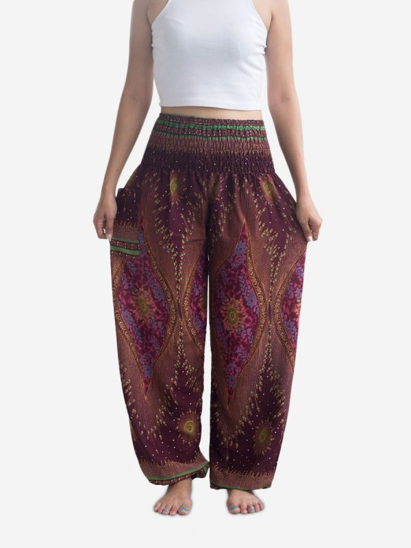 Burgundy Feather Thai Harem Pants