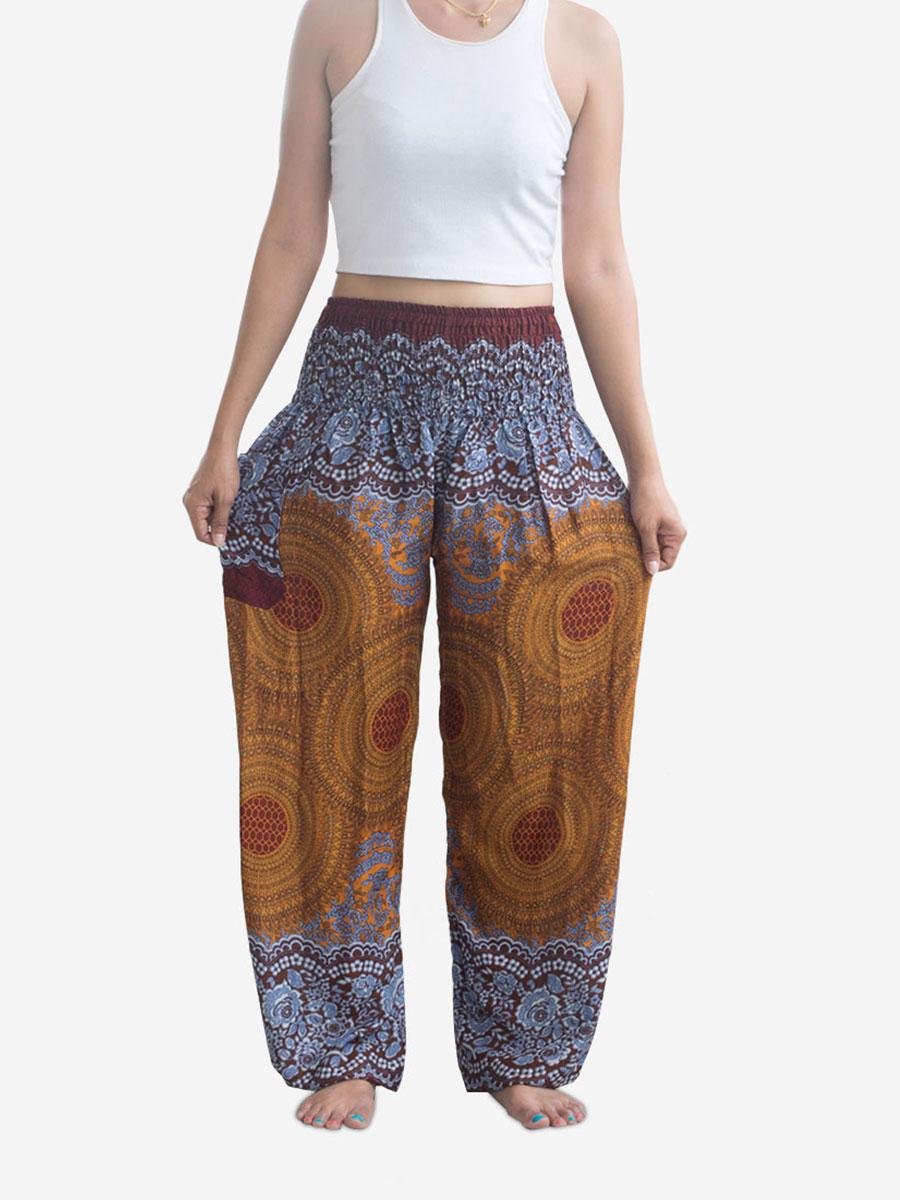 Golden Brown Spiral Thai Harem Pants