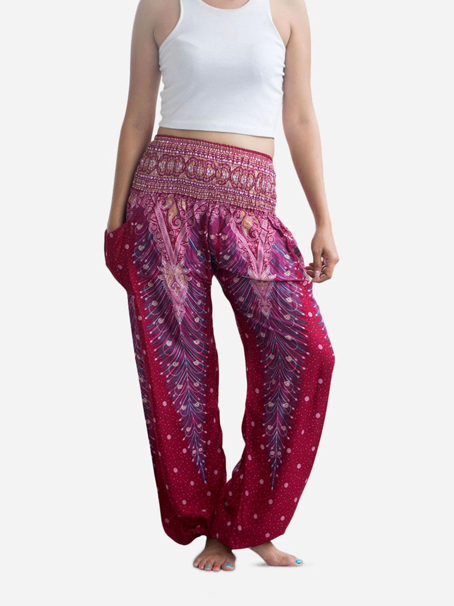 Pink Peacock Thai Harem Pants