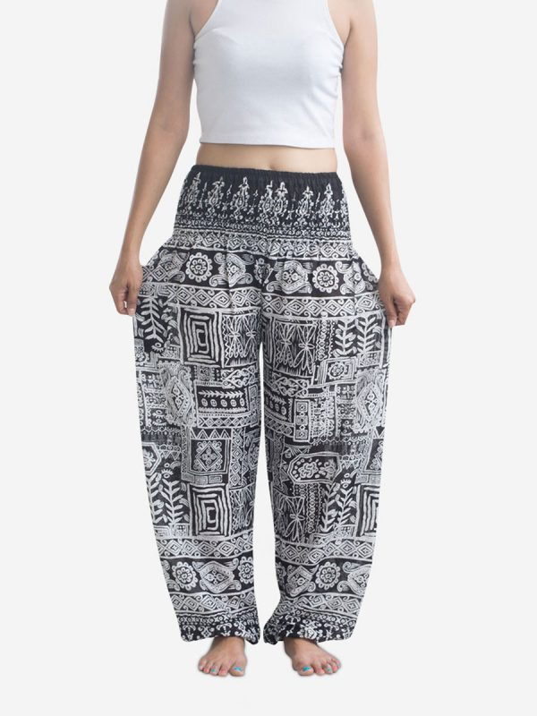 Black Aztec Thai Harem Pants