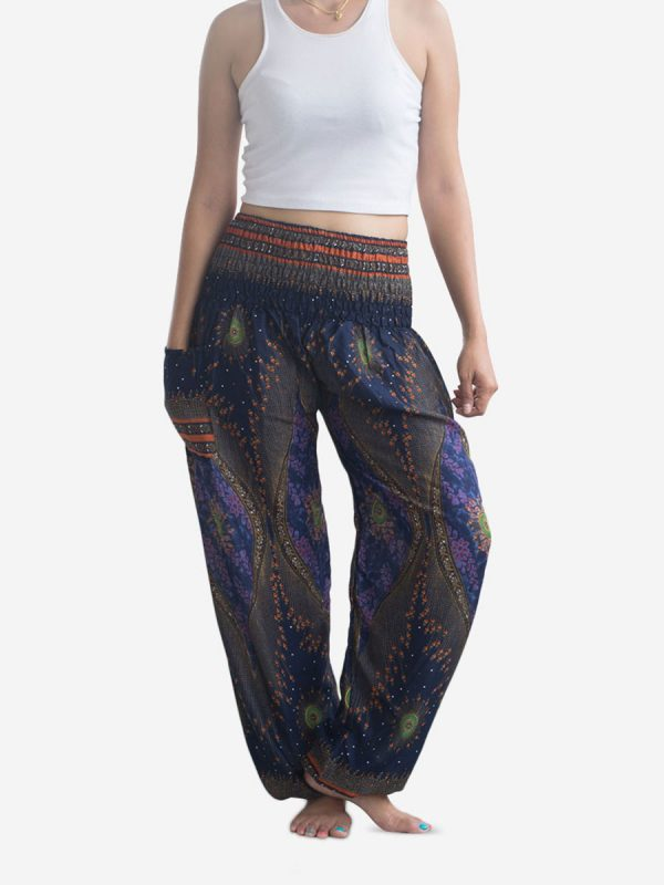 Blue Feather Thai Harem Pants