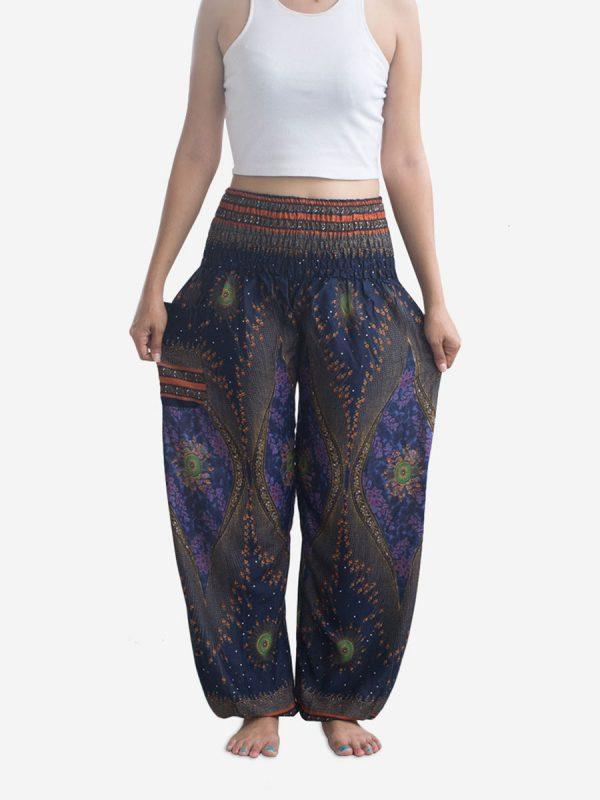 Blue Feather Thai Harem Pants