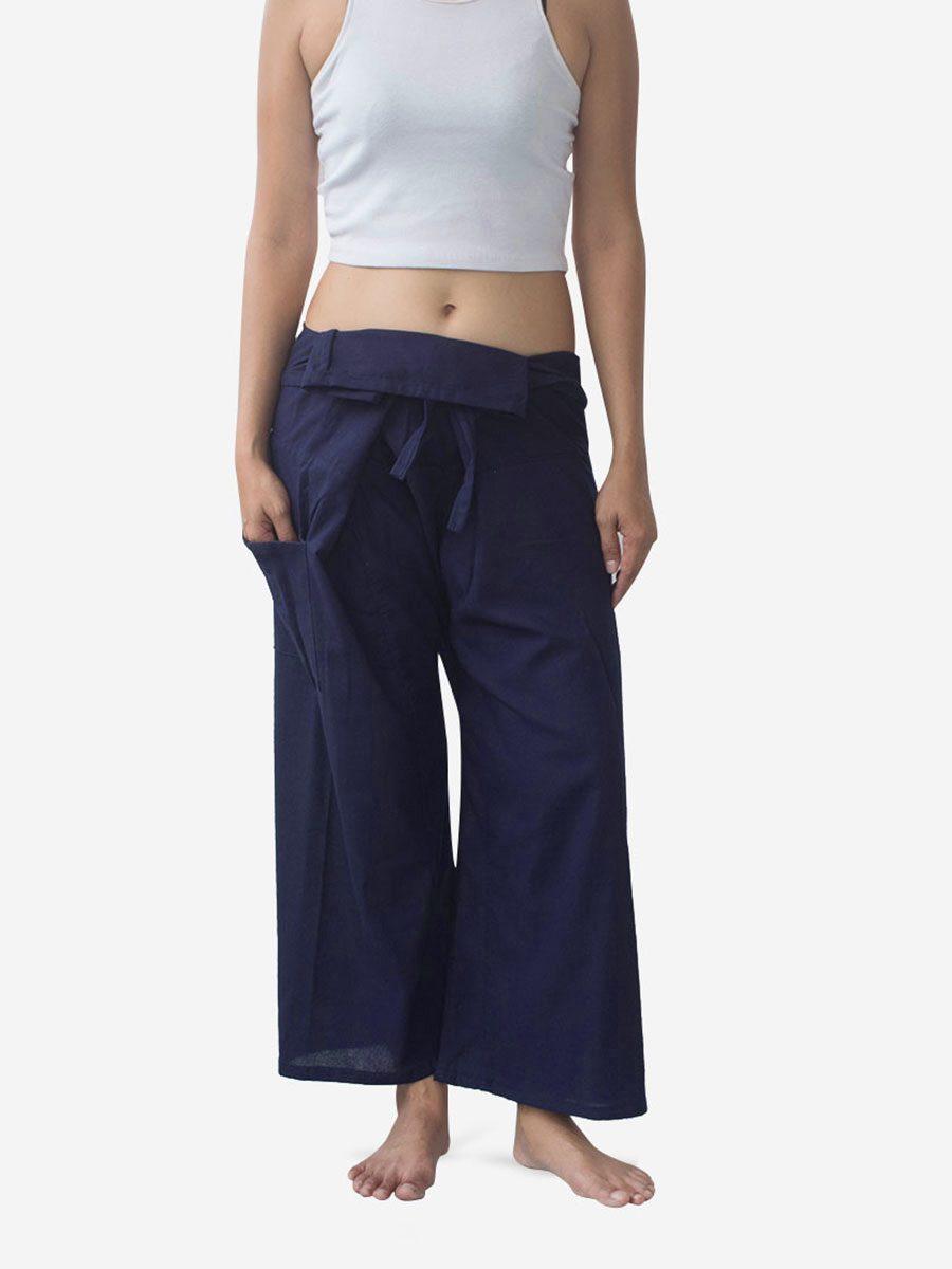 Women's Plain Navy Thai Fisherman Pants