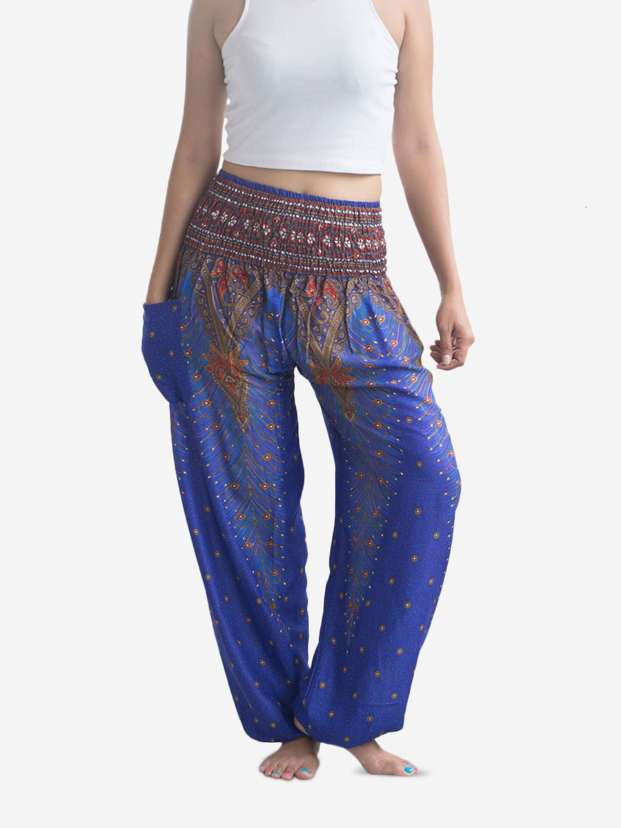 Blue Peacock Thai Harem Pants