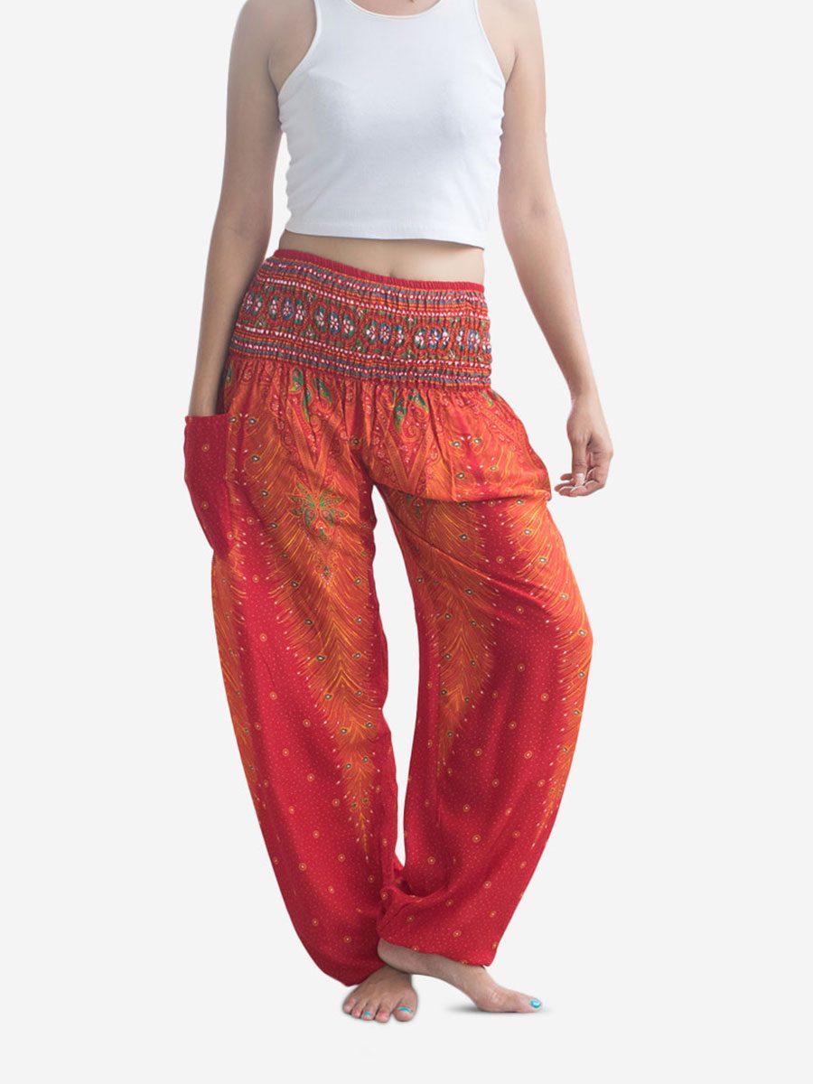 Orange Peacock Thai Harem Pants