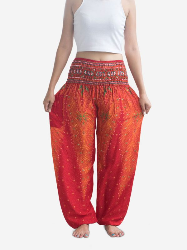 Orange Peacock Thai Harem Pants
