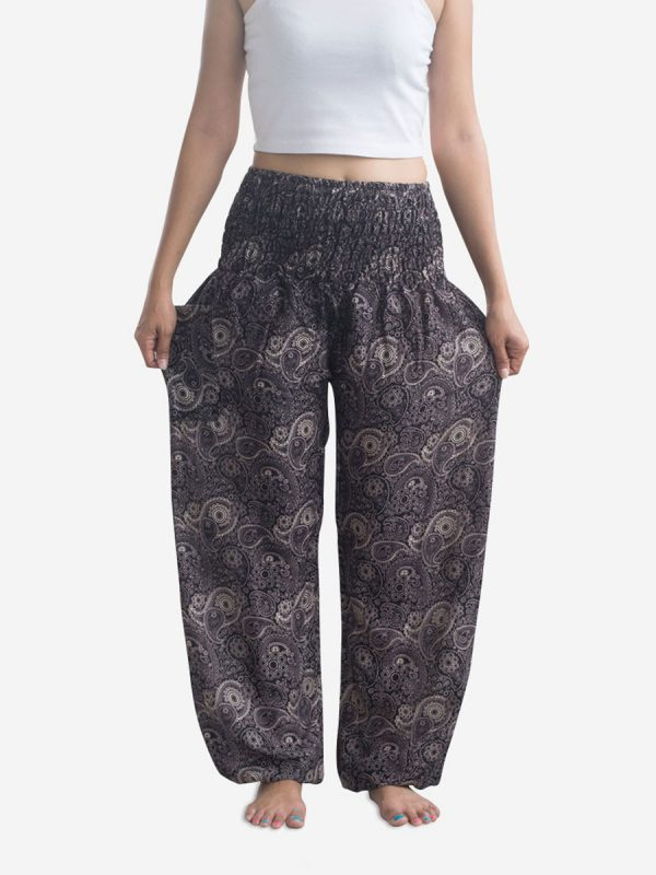 Brown Paisley Thai Harem Pants