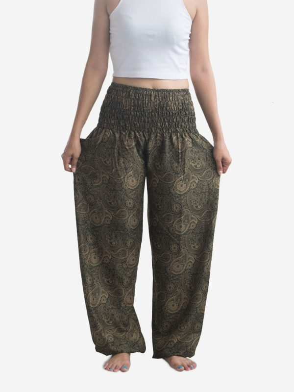 Leaf Green Paisley Harem Pants
