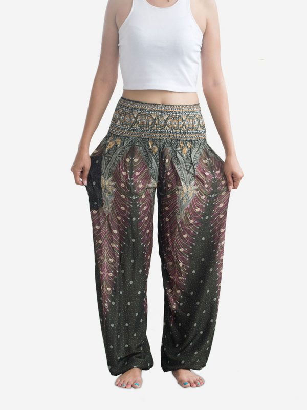 Leaf Green Peacock Thai Harem Pants