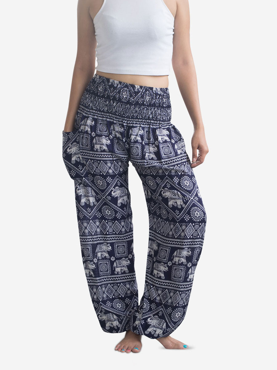 Blue Harem Pants. A unique collection of hand stitched blue harem pants from Thailand. Women's blue harem pants are great for yoga and come in elephant, peacock, stripe prints and more.