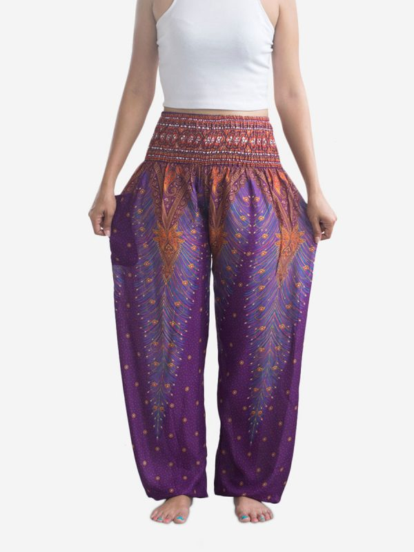 Purple Peacock Thai Harem Pants