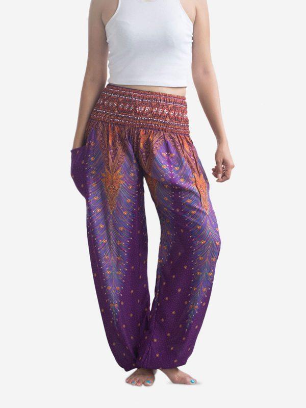 Purple Peacock Thai Harem Pants